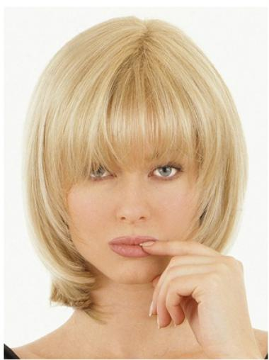 Beautiful 10 Inches Blonde Straight Remy Half Wigs