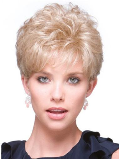 Fabulous Blonde Short Synthetic Clip On Half Wigs
