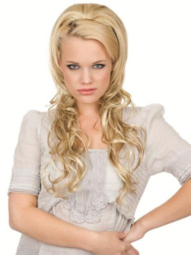 Sleek Blonde Wavy 24 Inches Real Hair Half Wigs