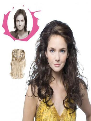 Modern Brown 20 Inches Synthetic Hair Falls & Curly Half Wig