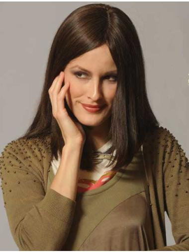 """Capless Brown 14"""" Fashionable Real Looking Long Wigs"""