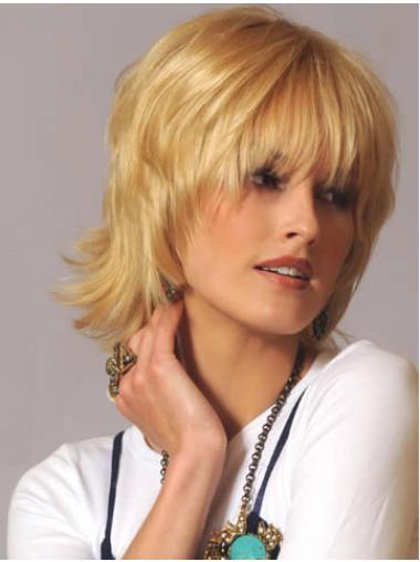 "Capless Chin Length 10"" Convenient Blonde Natural Wig"