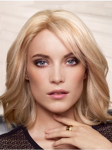 Layered Human Hair Wavy Capless Blonde Medium Length Wigs For Women