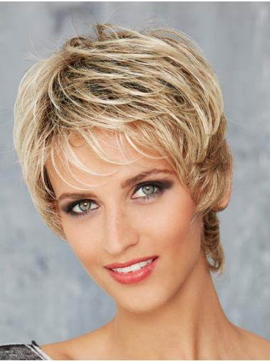 Blonde Wavy Short Synthetic Monofilament Wigs