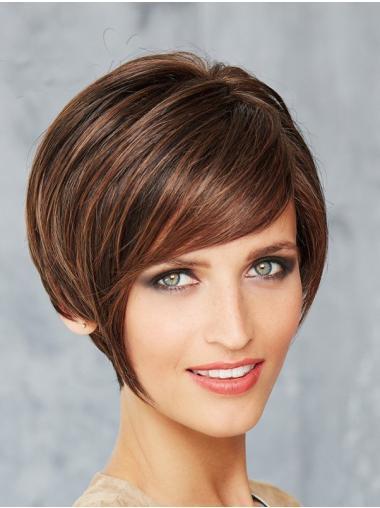 Short Straight Monofilament Brown Bob Style Wigs