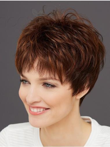 Auburn Wavy Short Synthetic Mono Wigs