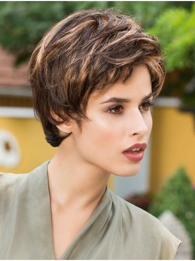Brown Straight Cropped Synthetic Monofilament Wigs For Women