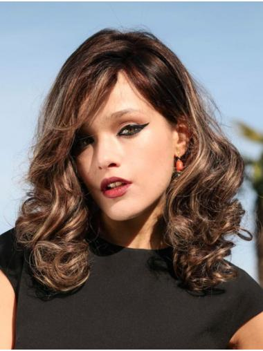 Monofilament Curly Shoulder Length Wigs Human Hair