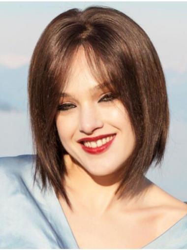 Monofilament Straight Chin Length Human Hair Wigs True