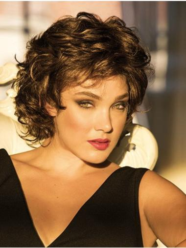 Brown Monofilament Curly Synthetic Classic Womens Wigs