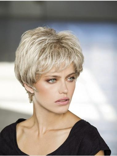 Platinum Blonde Wavy Short Synthetic Monofilament Wigs For Women