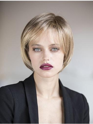 Bobs Synthetic Straight Monofilament Blonde Medium Length Hairstyles