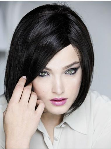 Chin Length Straight Monofilament Black Bob Fashion Wigs