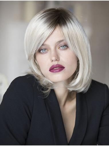 Chin Length Wavy Monofilament Platinum Blonde Bob Wigs For Sale