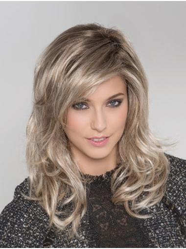 With Bangs Synthetic Wavy Monofilament Blonde Long Hair Wigs