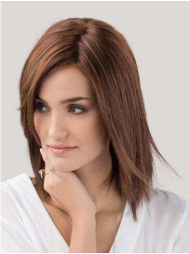 Without Bangs Synthetic Straight Monofilament Auburn Women Wig Medium Length