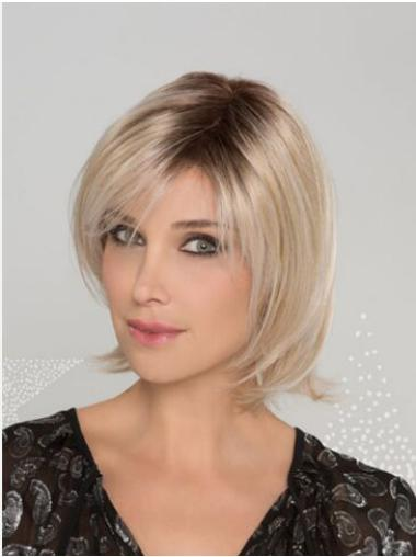 Blonde Straight Bobs Synthetic Sleek Lace Front Wigs