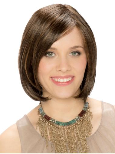 """Brown 100% Hand-tied Straight 10"""" Bob Style Ladies Wigs"""