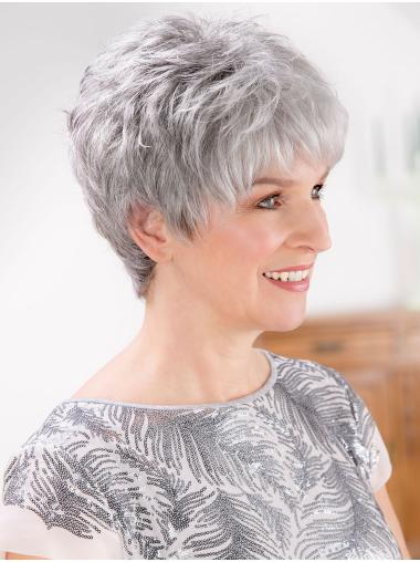 """Short 8"""" Lace Front Synthetic Grey Wigs"""