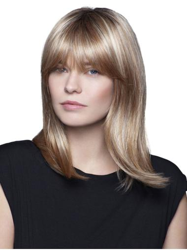 Blonde 100% Hand-tied With Bangs Shoulder Length Medium Wigs For Women