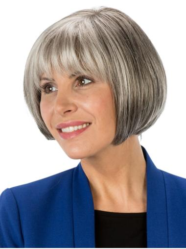 "Short 8"" Monofilament Synthetic Grey Wig"