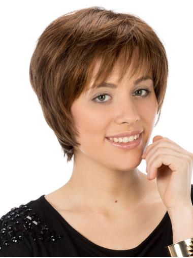 Straight Boycuts Synthetic Brown Ladies Short Hairstyles