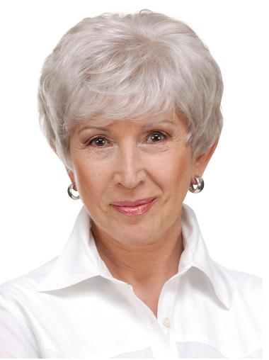 """Cropped 6"""" Monofilament Synthetic Grey Hair Wigs"""