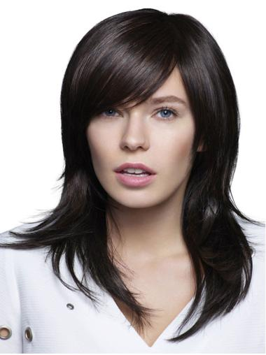 Black 100% Hand-tied With Bangs Long Long Wigs For Women