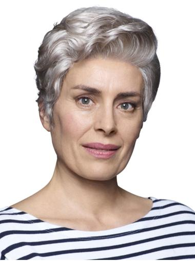 "Cropped 6"" 100% Hand-tied Synthetic Ladies Grey Wigs"