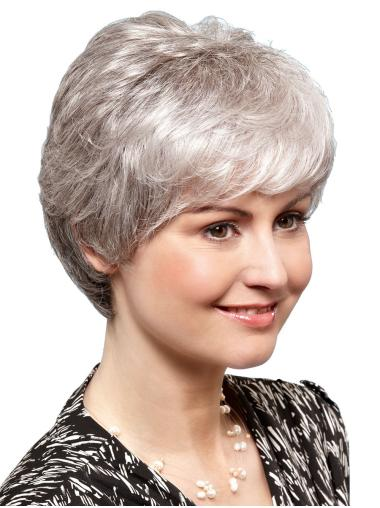 """Short 8"""" 100% Hand-tied Synthetic Ladies Grey Wigs"""