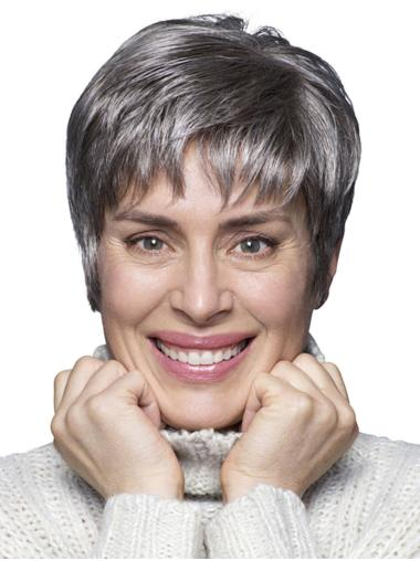 "Cropped 6"" 100% Hand-tied Synthetic Cheap Ladies Grey Wigs"
