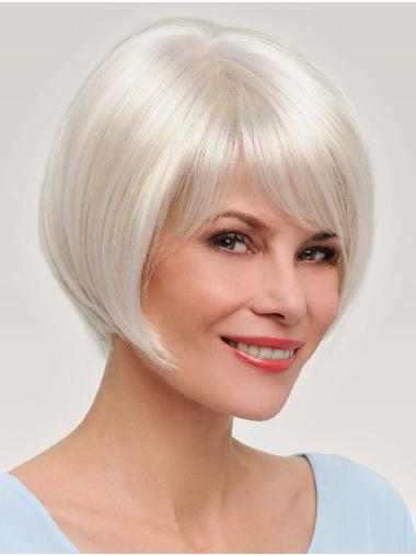 """Grey with Blonde Monofilament Straight 8"""" Bob Hair Wig"""