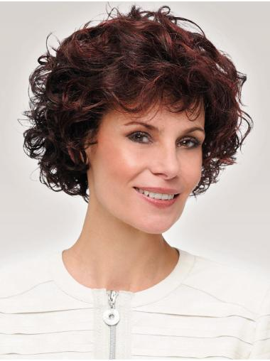 Curly Classic Synthetic Auburn Cheap Monotop Wigs