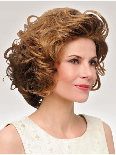 Curly Classic Synthetic Brown Ladies Mono Wigs