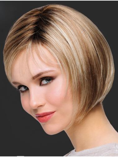 Synthetic Chin Length Straight Blonde Bob Hair Wig