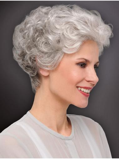 """Monofilament Curly Cropped 6"""" Best Grey Wigs"""