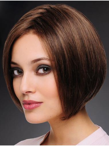 Brown 100% Hand-tied Bobs Chin Length Cheap Human Hair Wigs