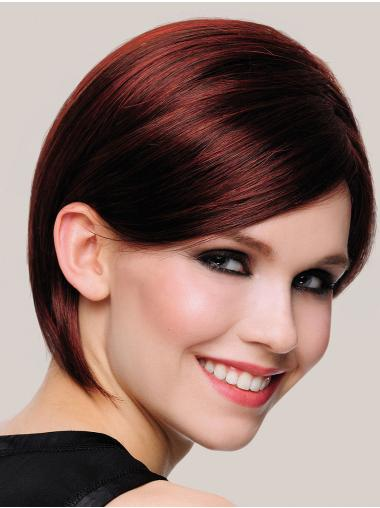Synthetic Chin Length Straight Auburn Bob Style Ladies Wigs