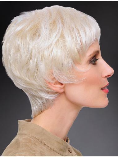 "100% Hand-tied Straight Short 8"" Grey Fashion Wig"