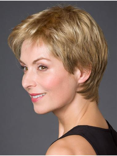 """Straight 100% Hand-tied 8"""" Blonde Very Short Wigs For Women"""