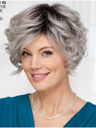 "Capless Wavy Short 8"" Wigs For Women Grey"