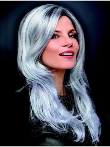 "Monofilament 16"" Long Synthetic Layered Best Grey Wigs"