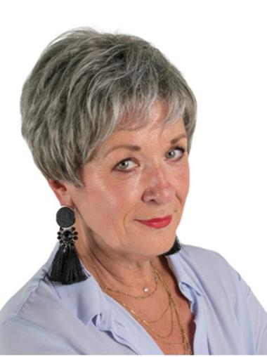 """Monofilament 8"""" Short Synthetic Layered Discount Wigs For Elderly Lady"""