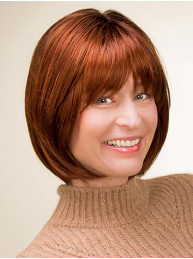 """Chin Length 100% Hand-tied 10"""" Copper Bob Wigs For Sale"""