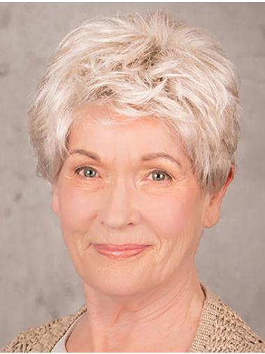 """100% Hand-tied 8"""" Short Synthetic Layered Elderly Women Wig On Sale"""