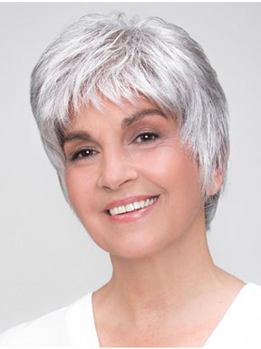 "Straight 8"" Grey 100% Hand-tied Boycuts Synthetic Wigs Good Quality"
