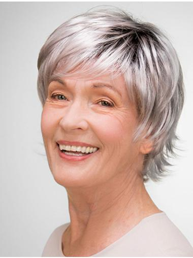 """100% Hand-tied 8"""" Short Synthetic Layered Elderly Women Wigs"""