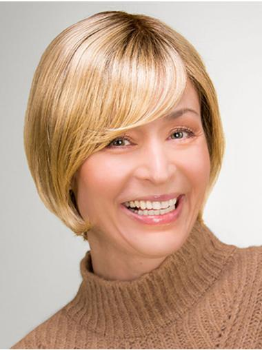 "Chin Length 100% Hand-tied 10"" Blonde Bob Style Wig"