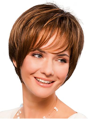 """8"""" Short Copper Synthetic With Bangs Hand Tied Wigs"""