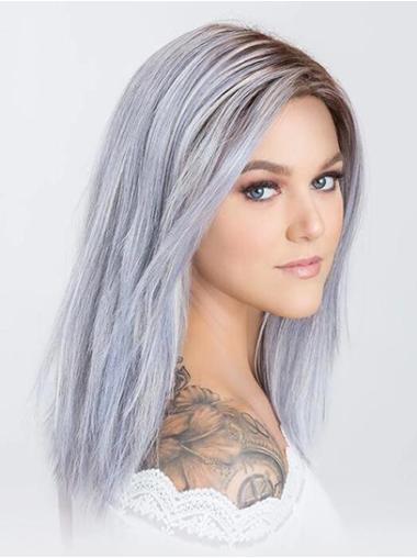 """Monofilament 14"""" Shoulder Length Synthetic Without Bangs Women Grey Wig"""